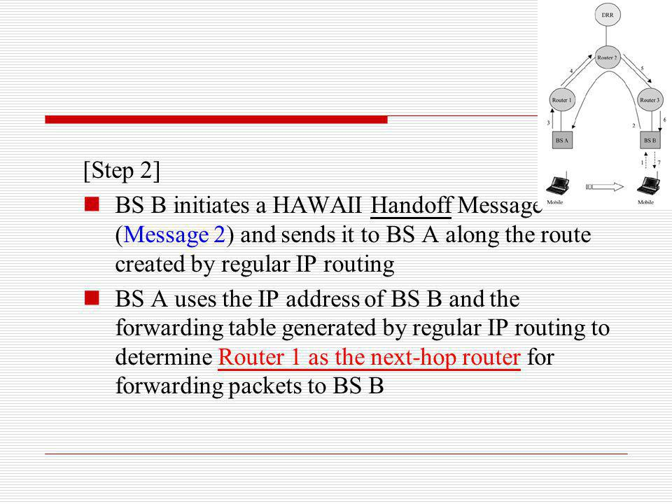 [Step 2] BS B initiates a HAWAII Handoff Message (Message 2) and sends it to BS A along the route created by regular IP routing.